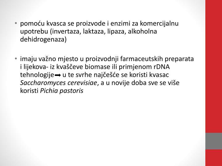Pomoću kvasca se proizvode i enzimi za komercijalnu upotrebu (invertaza, laktaza, lipaza, alkoholna...