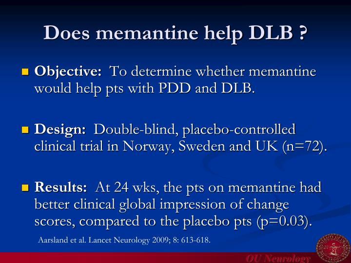 Does memantine help DLB ?