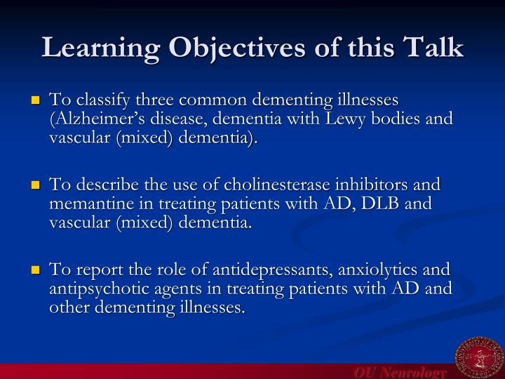 Learning objectives of this talk