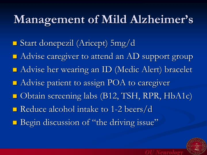 Management of Mild Alzheimer's