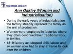 ann oakley women and industrialisation