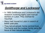 goldthorpe and lockwood