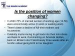 is the position of women changing
