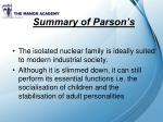 summary of parson s