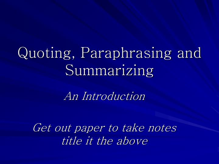 Paraphrasing powerpoint