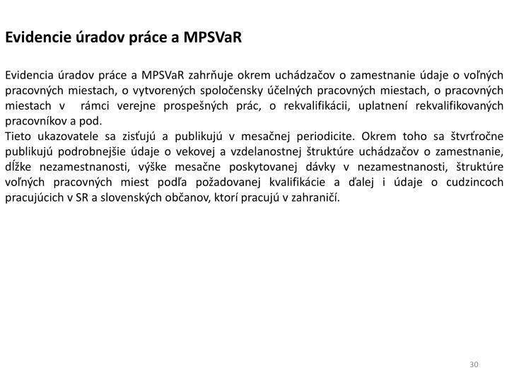 Evidencie úradov práce a MPSVaR
