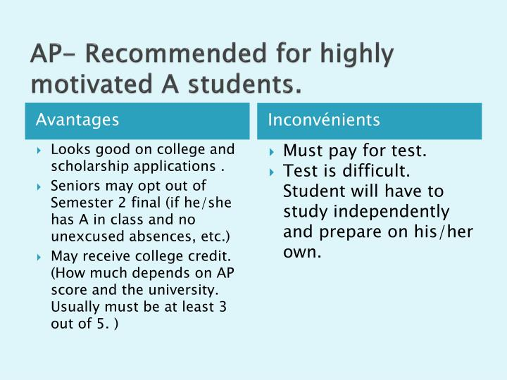 AP- Recommended for highly motivated A students.