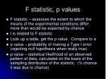 f statistic p values