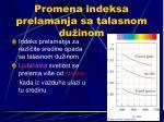 promena indeksa prelamanja sa talasnom du inom