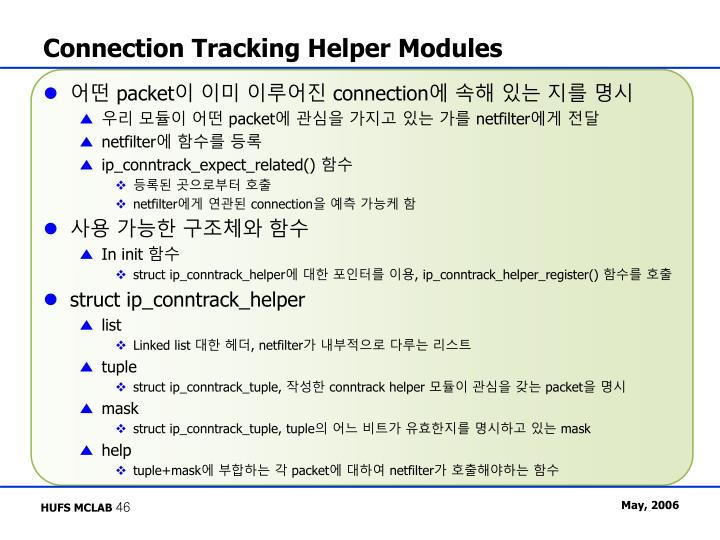 Connection Tracking Helper Modules