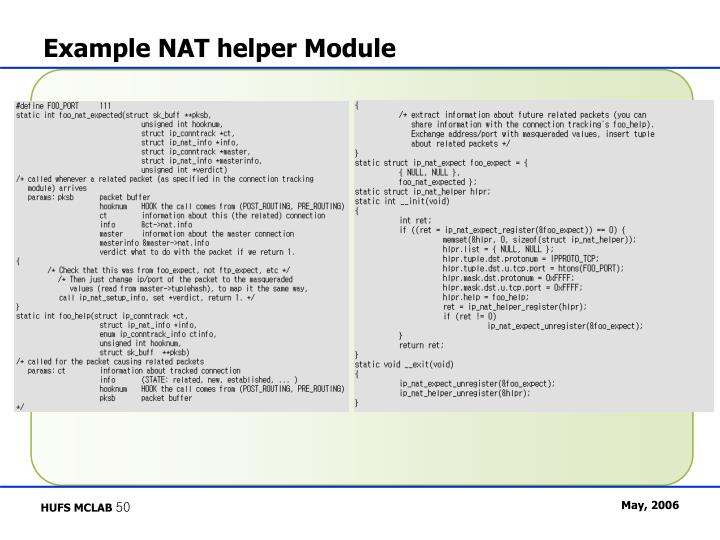 Example NAT helper Module
