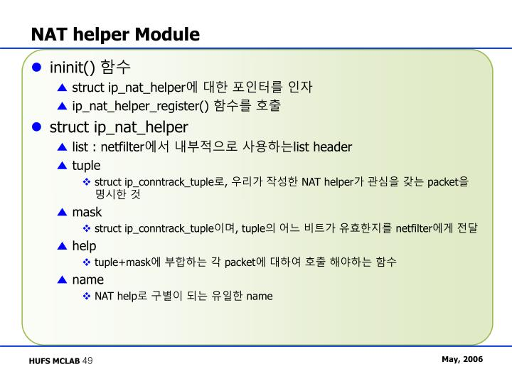NAT helper Module