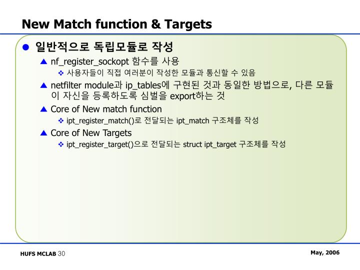 New Match function & Targets