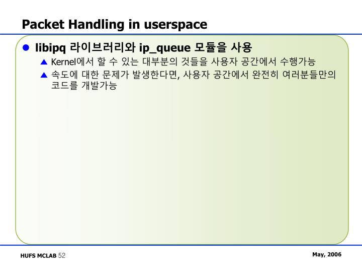 Packet Handling in userspace