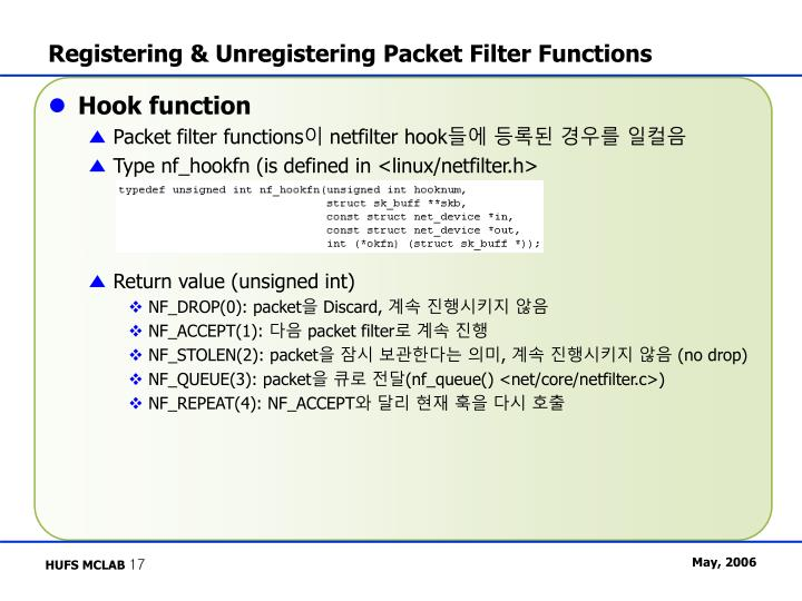 Registering & Unregistering Packet Filter Functions