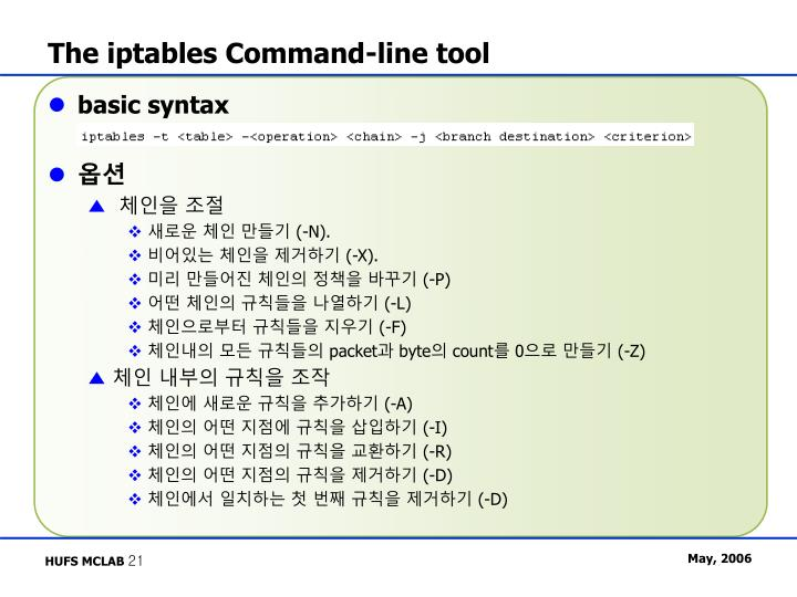 The iptables Command-line tool