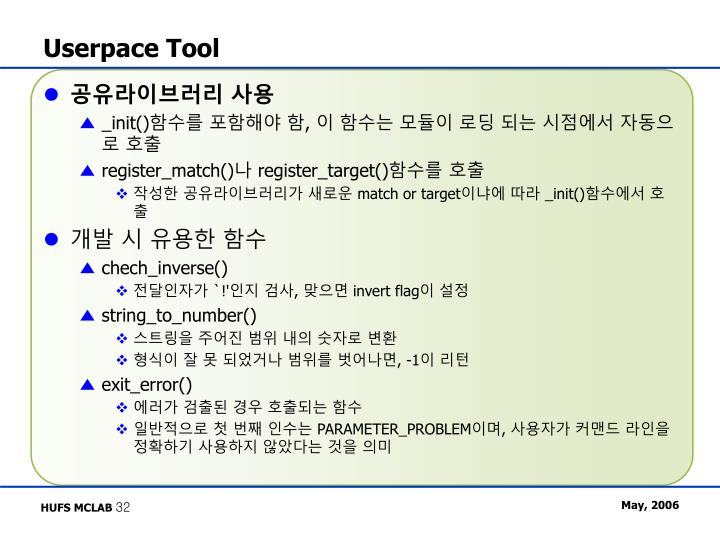Userpace Tool