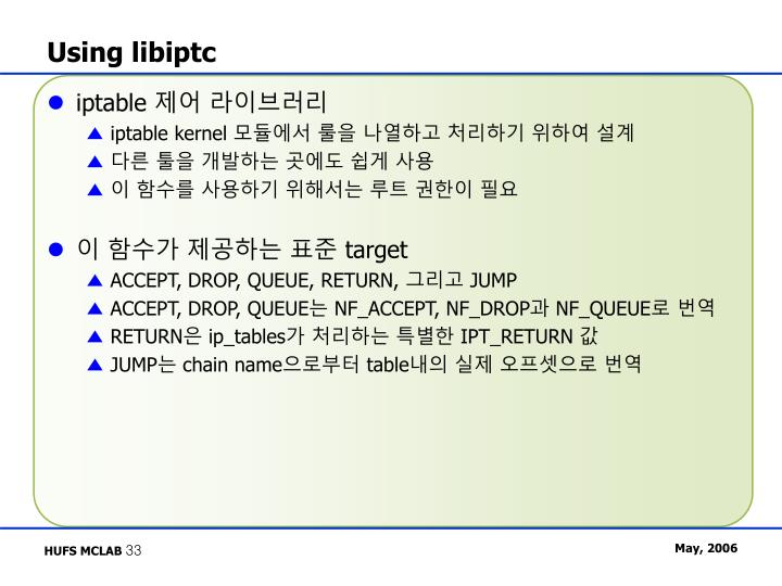 Using libiptc