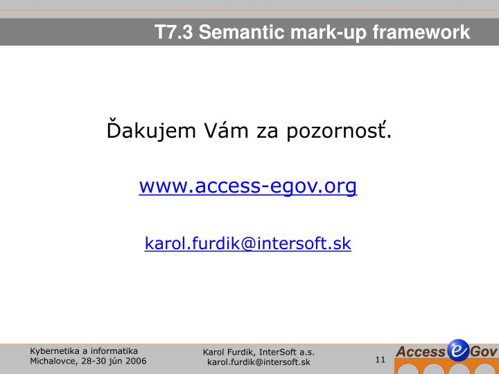 T7.3 Semantic mark-up framework