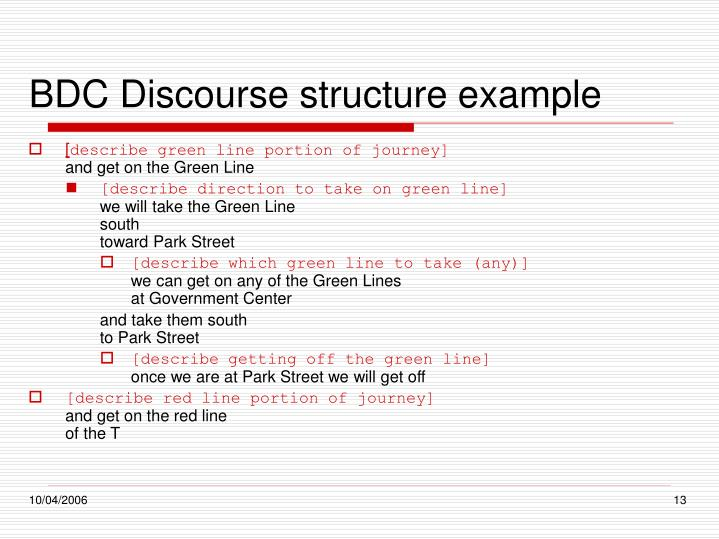 BDC Discourse structure example