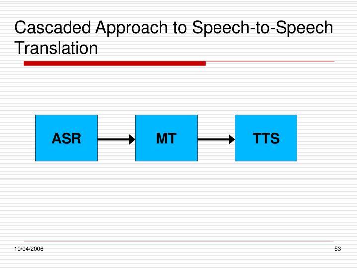 Cascaded Approach to Speech-to-Speech Translation