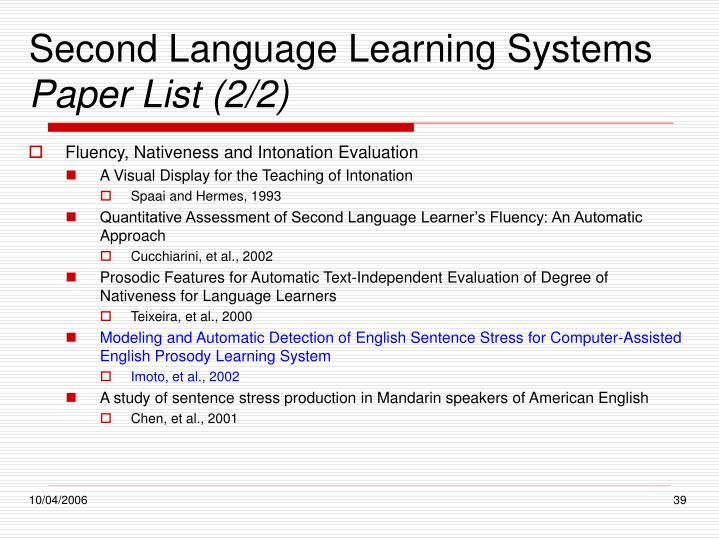 Second Language Learning Systems