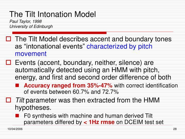 The Tilt Intonation Model
