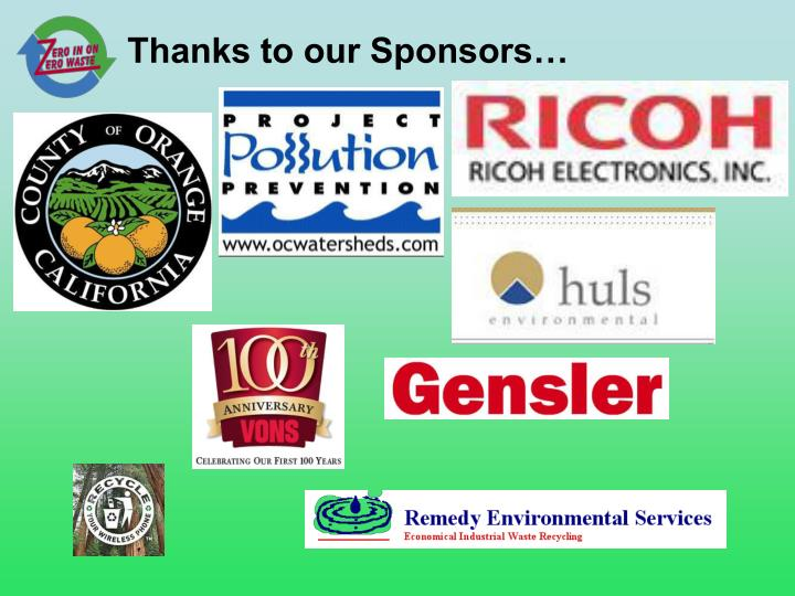 Thanks to our Sponsors…