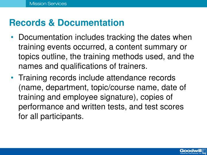 Records & Documentation