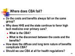 where does cba fail