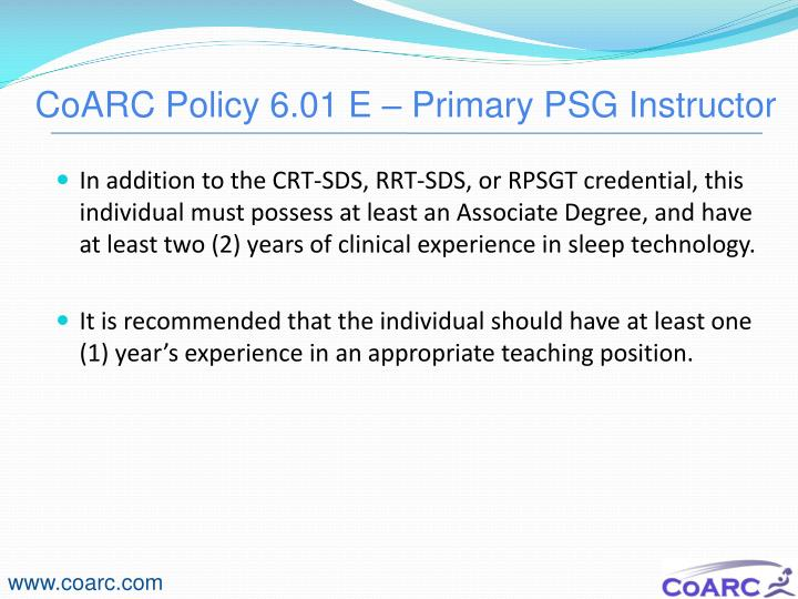 CoARC Policy 6.01 E – Primary PSG Instructor