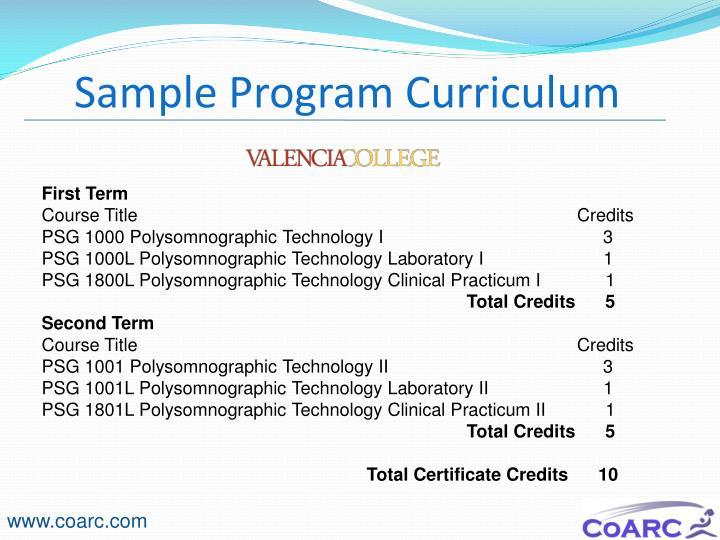 Sample Program Curriculum