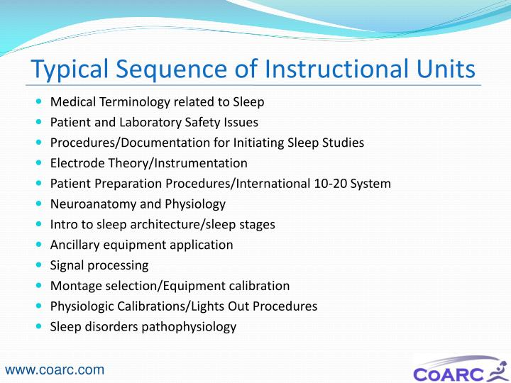Typical Sequence of Instructional Units