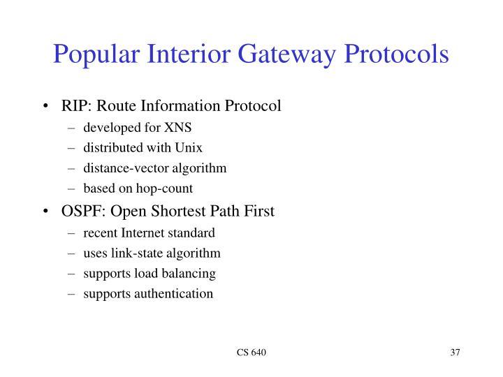 Popular Interior Gateway Protocols