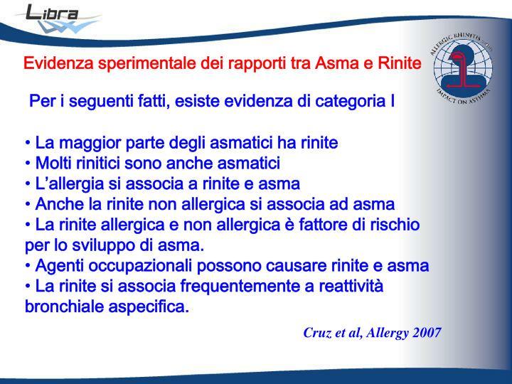 Evidenza sperimentale dei rapporti tra Asma e Rinite