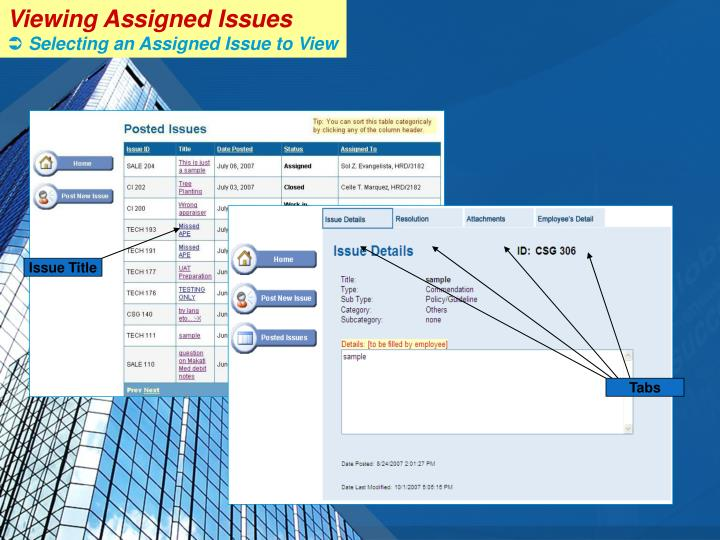 Viewing Assigned Issues
