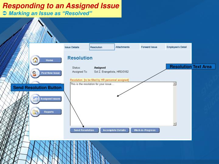 Responding to an Assigned Issue