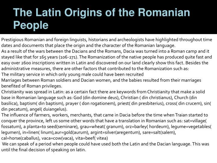 The Latin Origins of the Romanian People