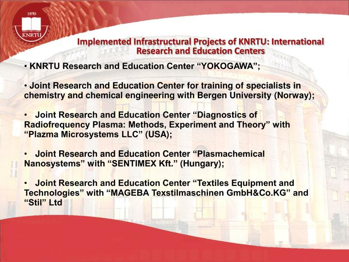 Implemented Infrastructural Projects of KNRTU: International Research and Education Centers