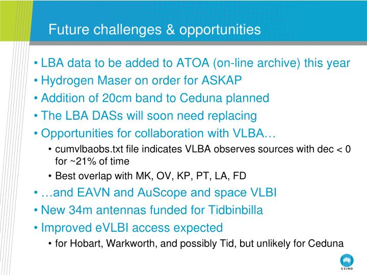 Future challenges & opportunities