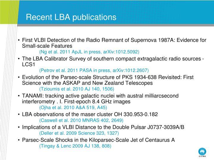 Recent LBA publications