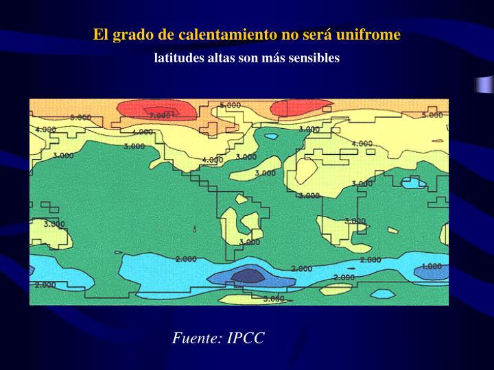 El grado de calentamiento no será unifrome