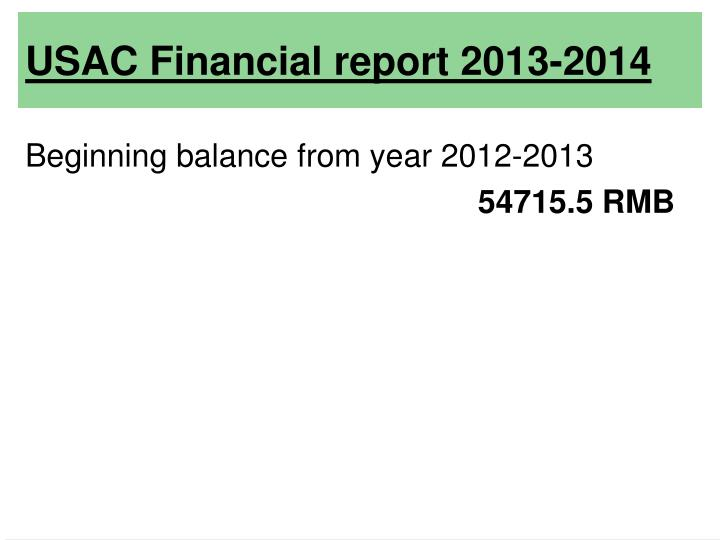 Usac financial report 2013 2014