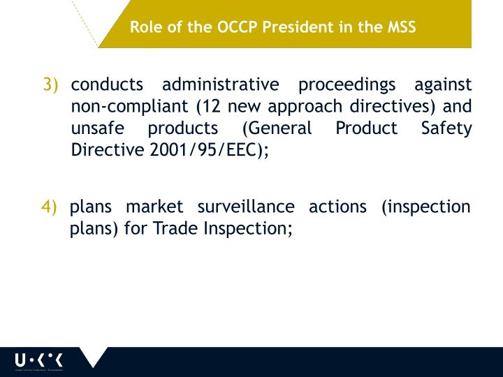 Role of the OCCP President in the MSS