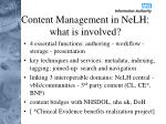content management in nelh what is involved