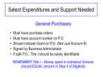 select expenditures and support needed1