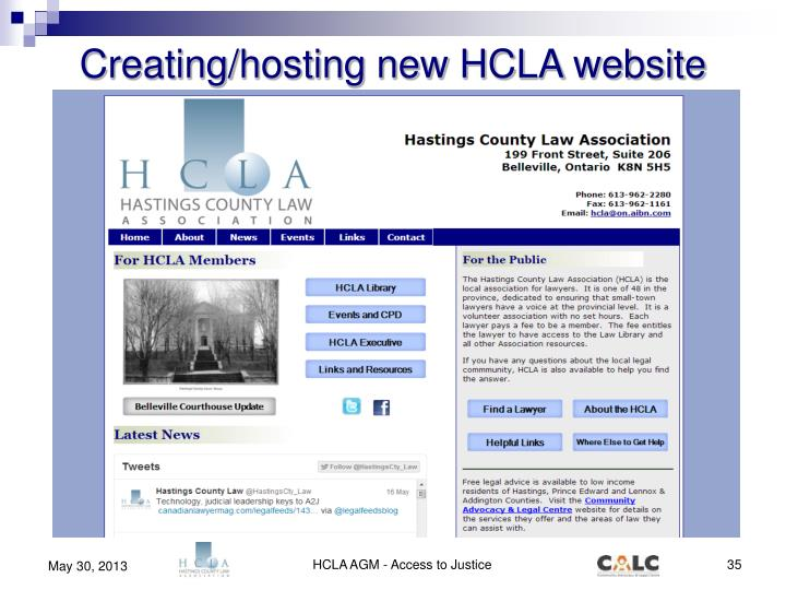 Creating/hosting new HCLA website