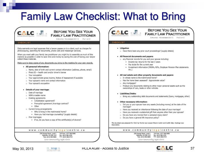 Family Law Checklist: What to Bring