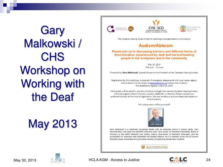Gary Malkowski / CHS Workshop on Working with the Deaf