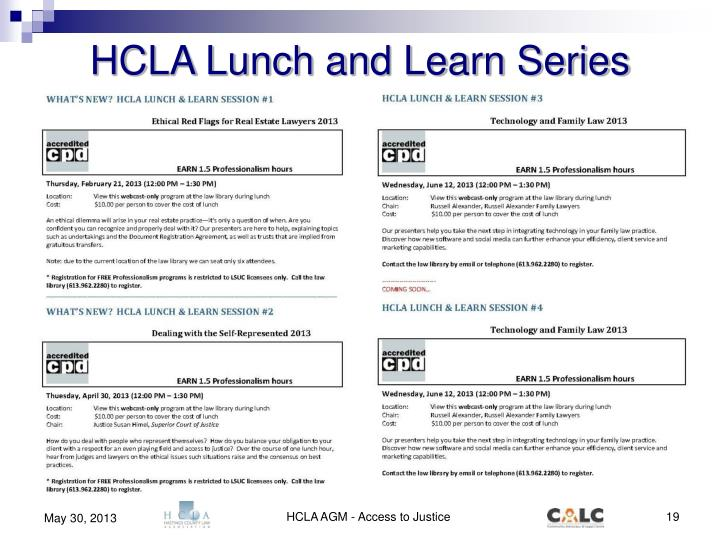 HCLA Lunch and Learn Series